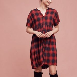 XS Anthropologie Plaid Mona Dress